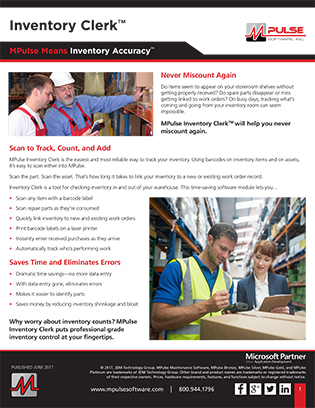 Inventory Clerk Datasheet