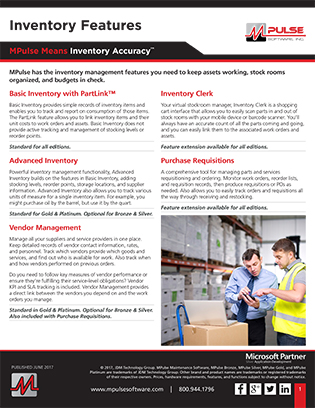 Inventory Features Datasheet