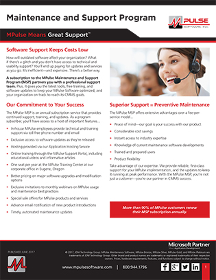MPulse Maintenance & Support Program Datasheet